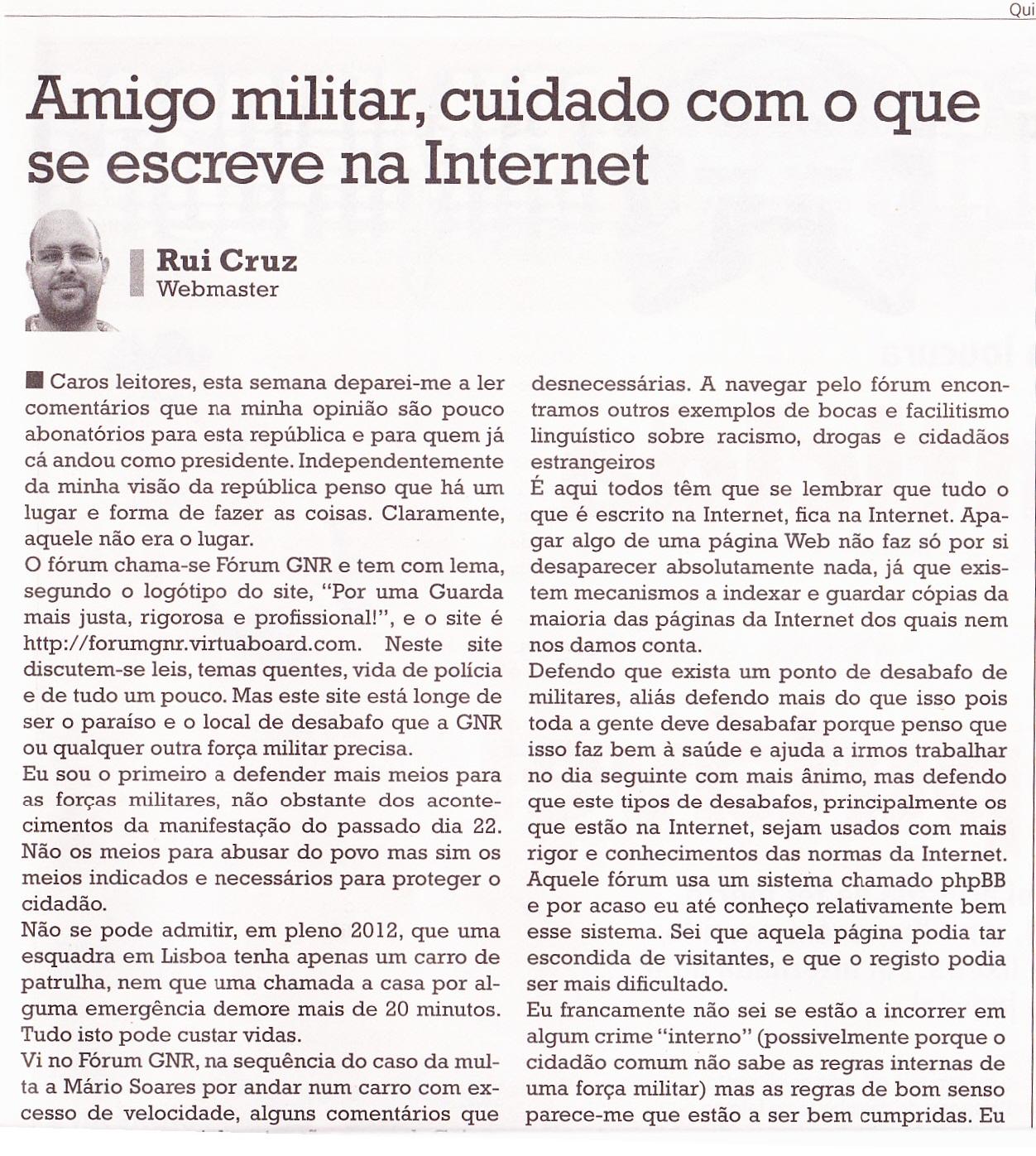 Opinião pessoal no jornal O Crime – 11-04-2012