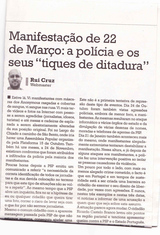 Opinião pessoal no jornal O Crime – 29-03-2012