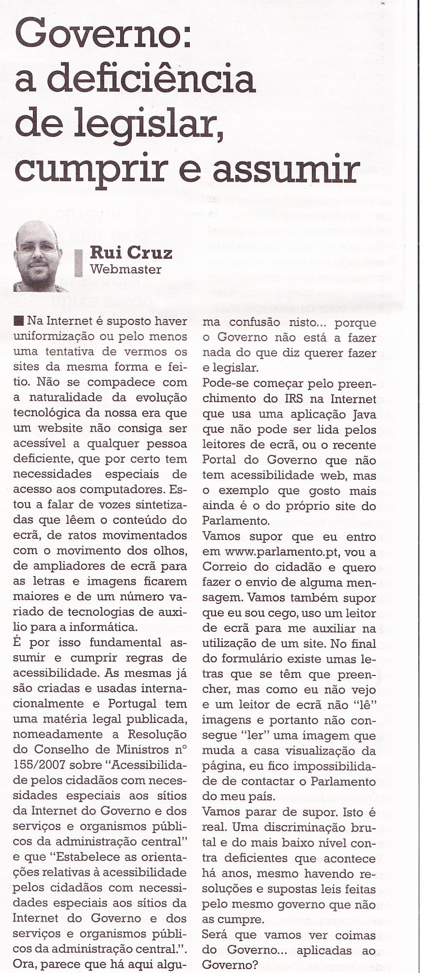Opinião pessoal no jornal O Crime – 19-04-2012